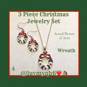 3 Piece Jewelry Set Christmas Wreath